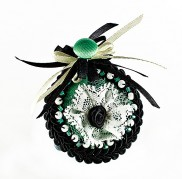 Pepermint Black Marquis Brooch