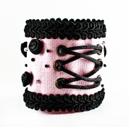 Pink - Black Rose Corset Wristband