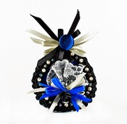 Blue Black Marquis Brooch