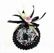 Pink Black Marquis Brooch